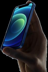 Lånad bild, hand med iPhone 12 Mini.
